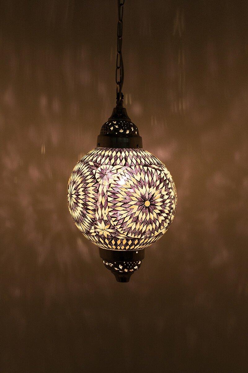 Oosterse hanglamp zwart & wit Mumbai