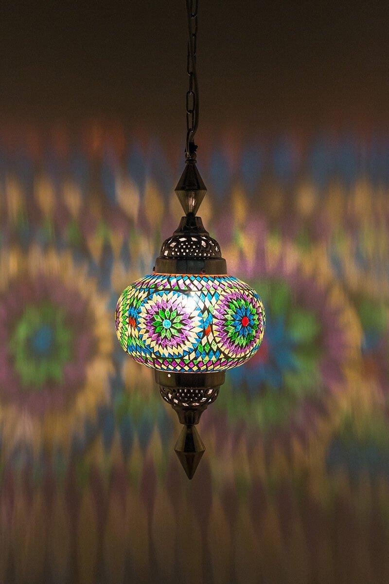 Oosterse lamp Gaya multicolour bohemian aan