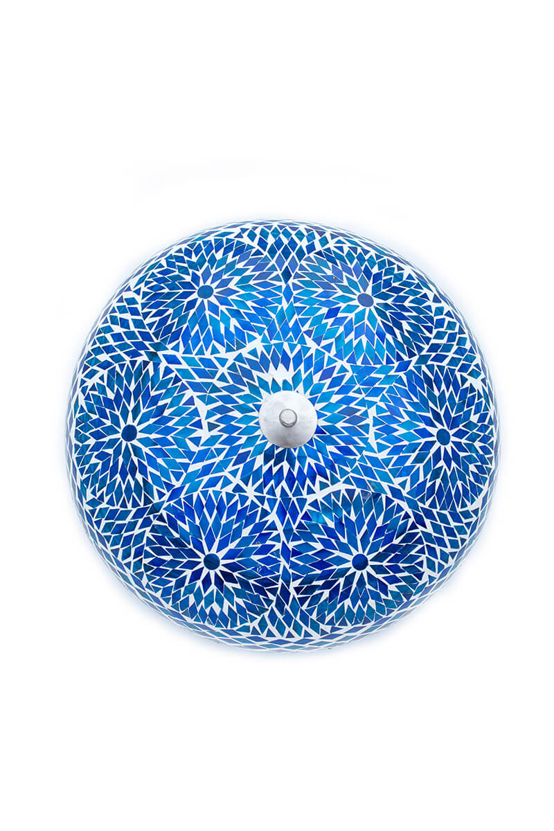 Plafondlamp mozaiek blauw bohemian uit