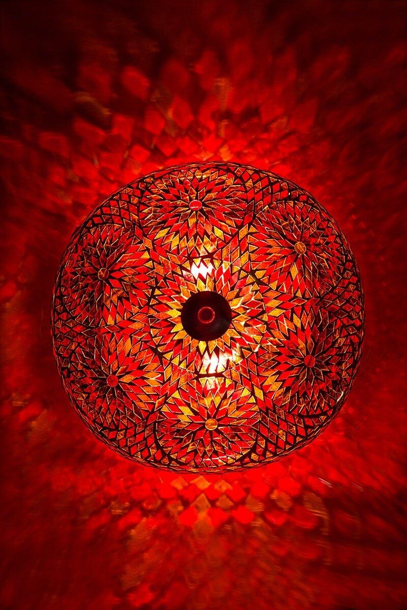 Plafondlamp mozaiek oranje bohemian aan