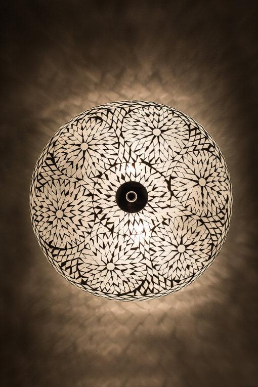 Plafondlamp wit bohemian aan