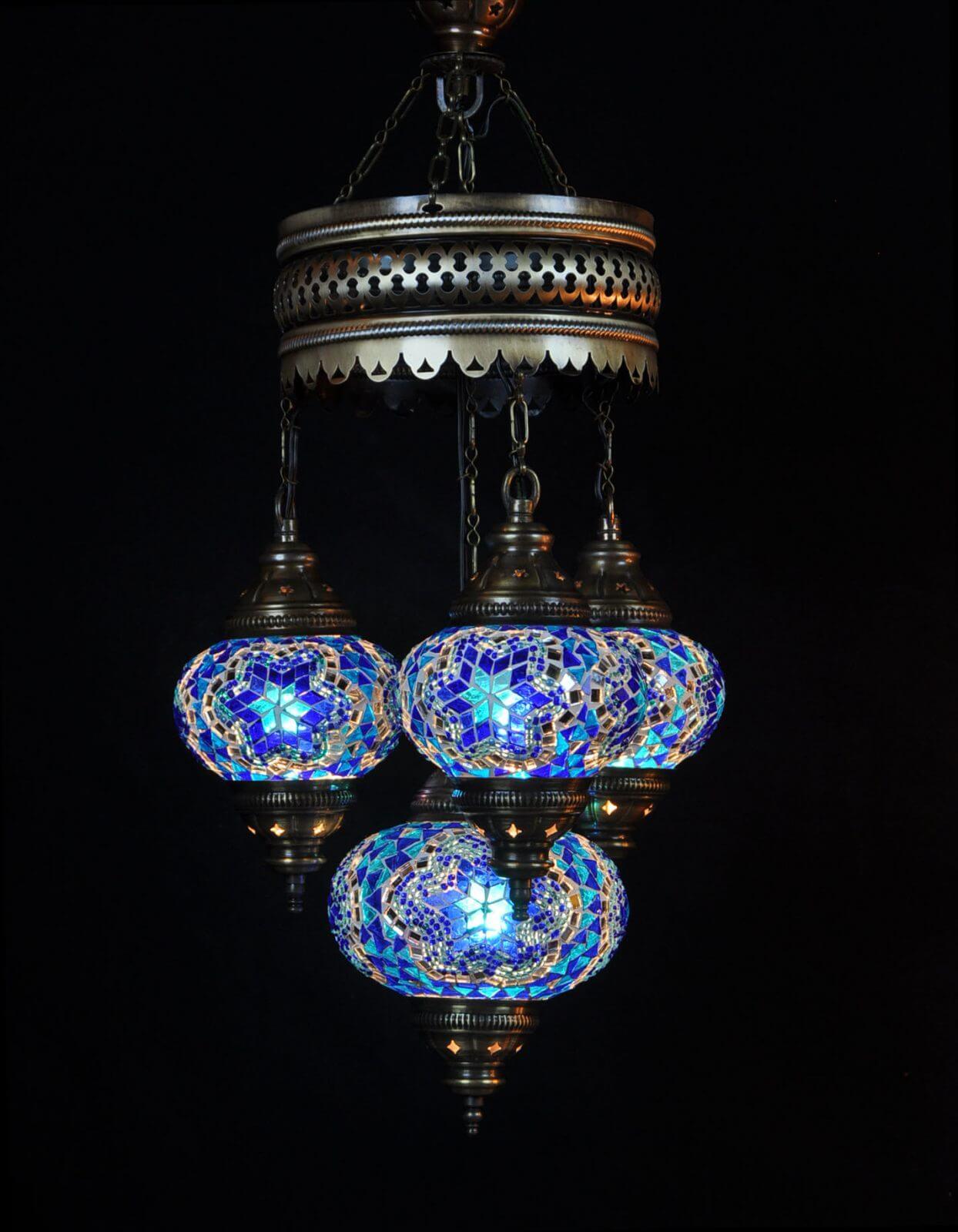 Turkse kroonluchter blauw 4 bollen - Sfeerverlichting Online
