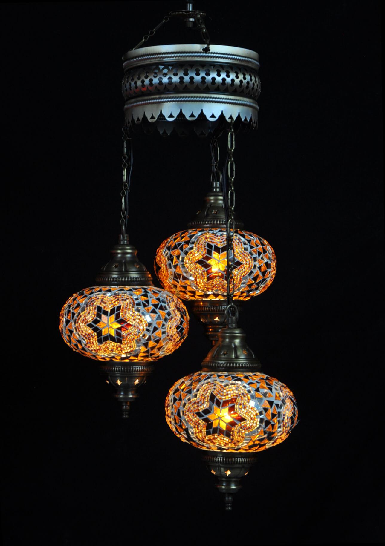 Turkse kroonluchter mozaïek bruin & beige 3 bollen - Turkse lampen