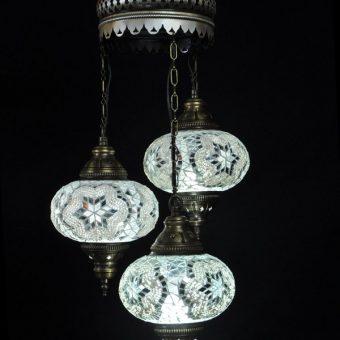 Turkse kroonluchter mozaïek wit 3 bollen - Turkse lampen