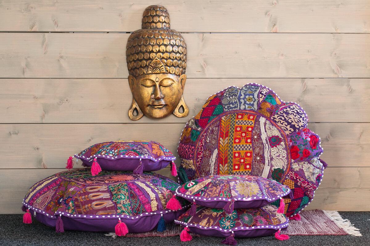 Ibiza kussenhoes paars voor een Boho interieur gemakkelijk bestellen.