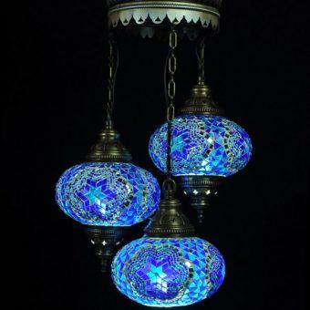 Turkse kroonluchter mozaïek blauw 3 bollen - Turkse lampen