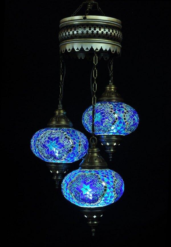 turkse kroonluchter mozaek blauw 3 bollen turkse lampen