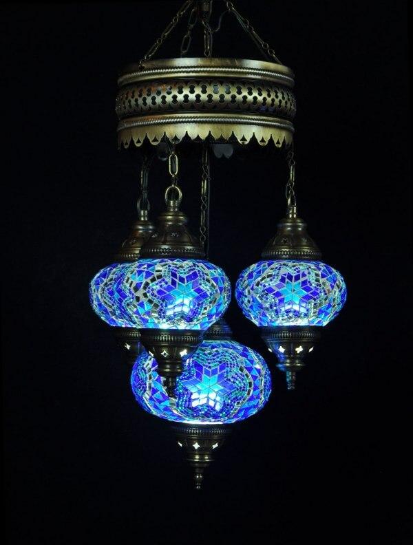 Turkse kroonluchter mozaïek blauw 4 bollen - Sfeerverlichting Online