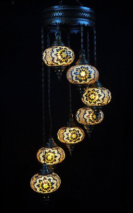 Oosterse lamp mozaïek bruin 7 bollen – Oosterse lampen online
