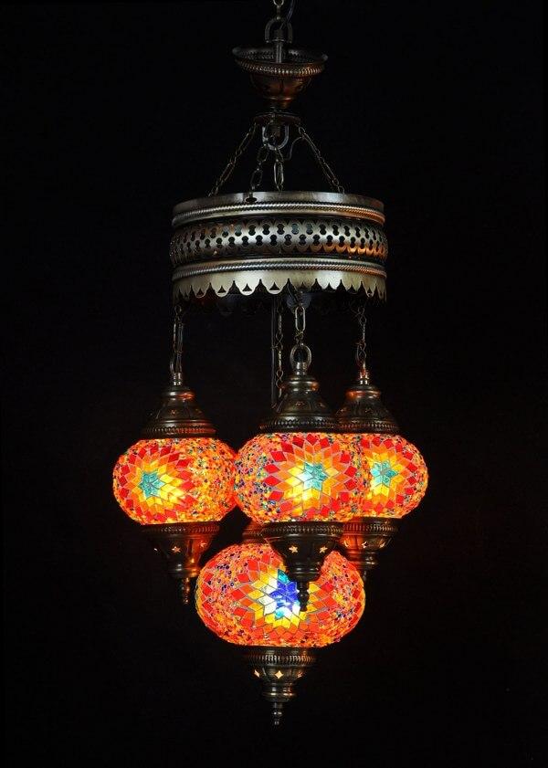 Turkse kroonluchter mozaïek multicolour 4 bollen - Sfeerverlichting Online