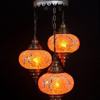 Turkse kroonluchter mozaïek oranje 3 bollen - Turkse lampen