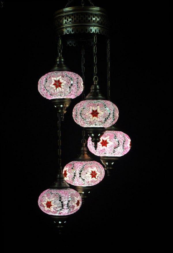 Oosterse mozaïek lamp roze 5 bollen - Oosterse lampen