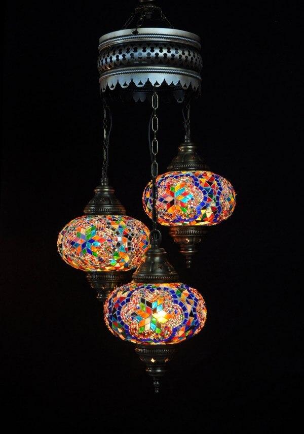 Turkse kroonluchter mozaïek multicolour 3 bollen - Sfeerverlichting Online