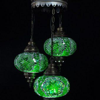 Turkse kroonluchter mozaïek groen 3 bollen – Turkse lampen