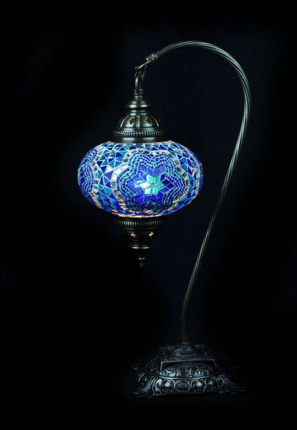 Tafellamp mozaiek boog blauw - Sfeerverlichting Online