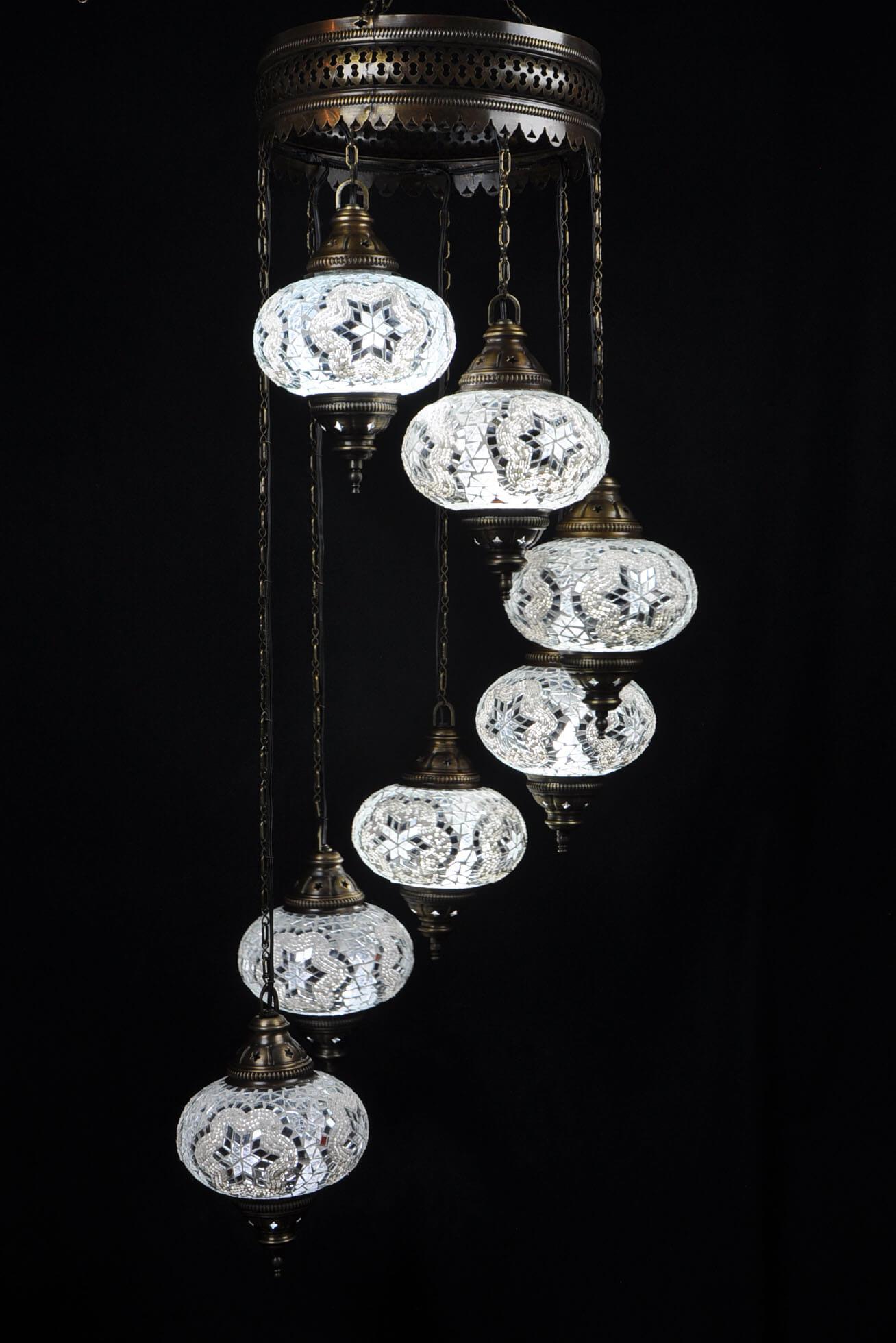 Oosterse lamp mozaïek wit 7 bollen – Oosterse lampen online