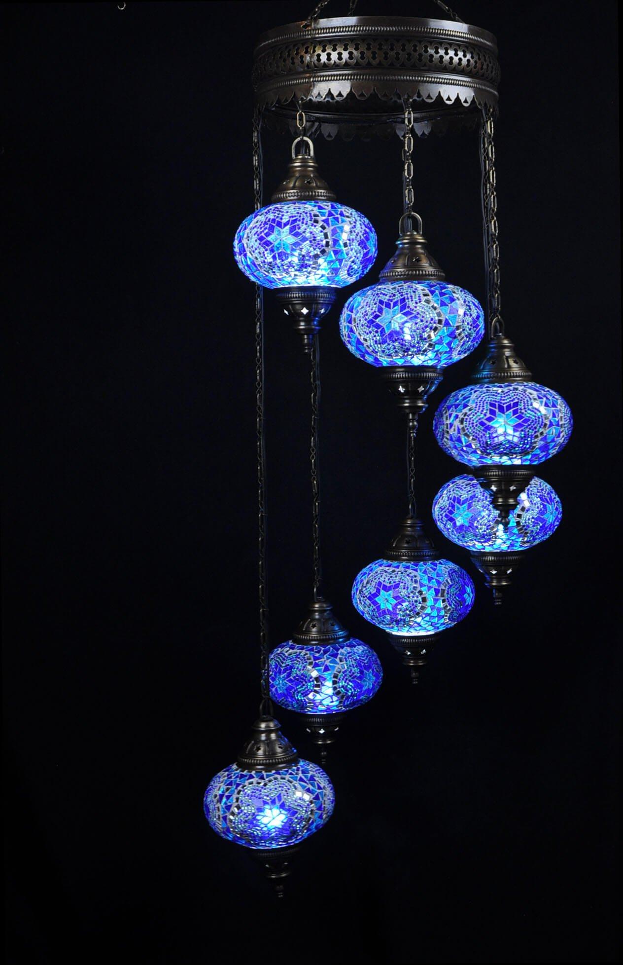 Oosterse lamp mozaïek blauw 7 bollen – Oosterse lampen online