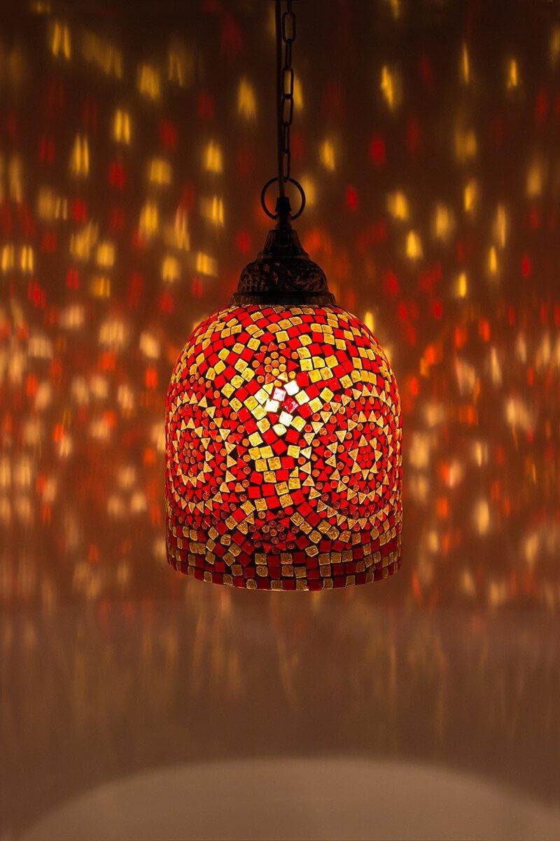 Mozaiek lamp oranje Jaipur aan