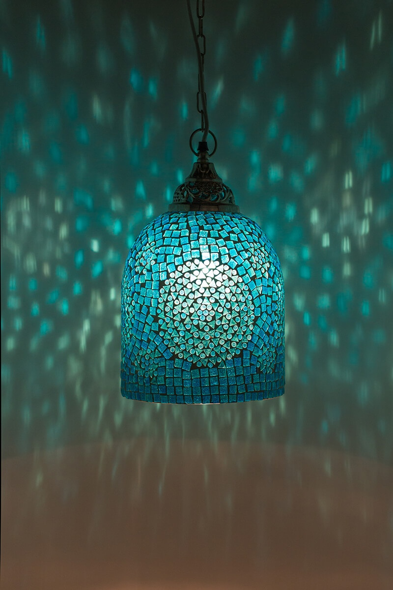 Mozaiek lamp turquoise Jaipur aan