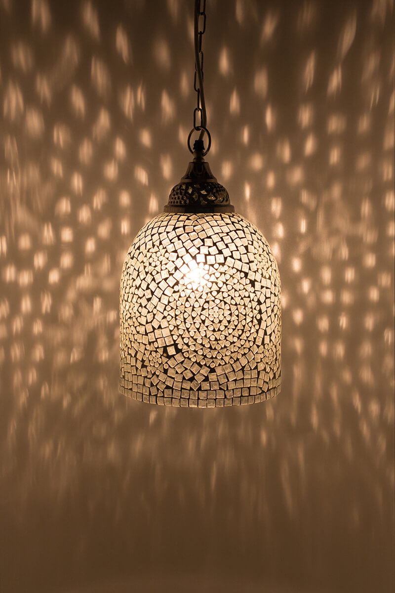 Mozaiek lamp wit Jaipur aan