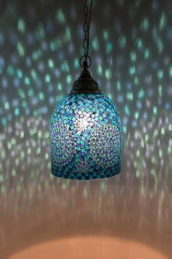 Mozaiek lamp blauw Jaipur aan