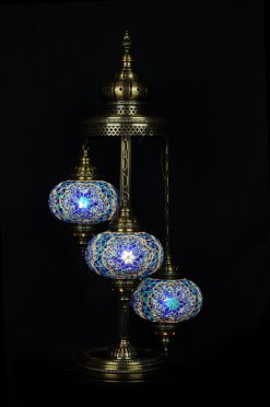 Vloerlamp 3 bollen blauw