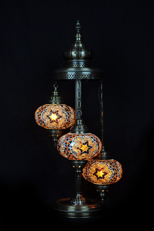 Vloerlamp 3 bollen bruin