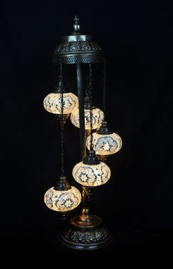Vloerlamp 5 bollen wit