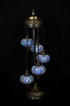 Vloerlamp mozaïek 5 bollen blauw