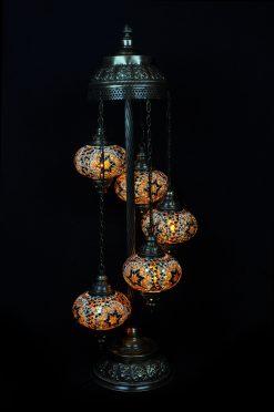 Vloerlamp mozaïek 5 bollen bruin