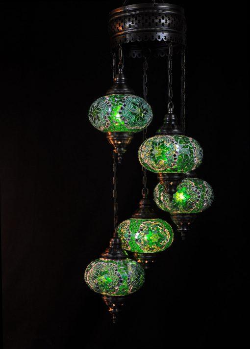 Oosterse lamp groen 5 bollen - Sfeerverlichting Online