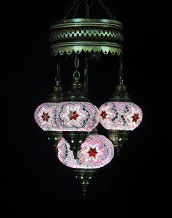 Turkse kroonluchter roze 4 bollen - Sfeerverlichting Online