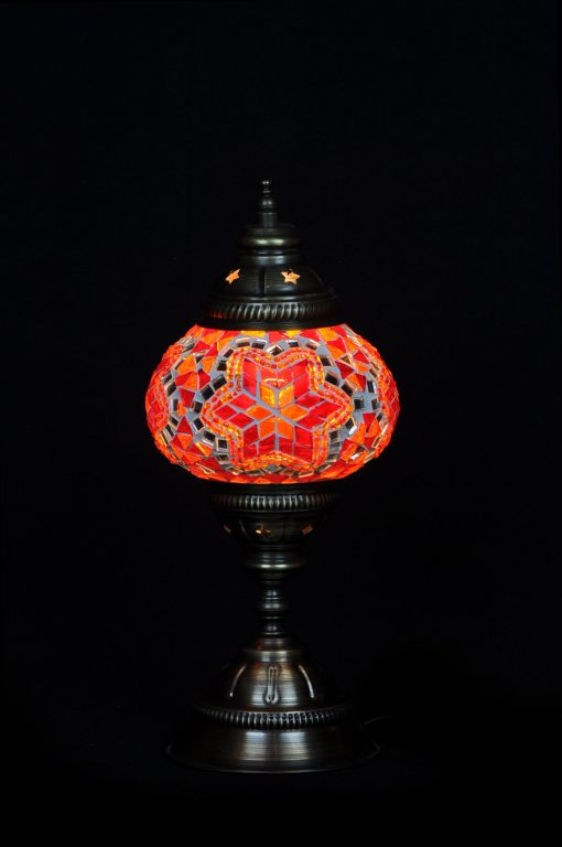 Turkse tafellamp rood/oranje - Sfeerverlichting Online
