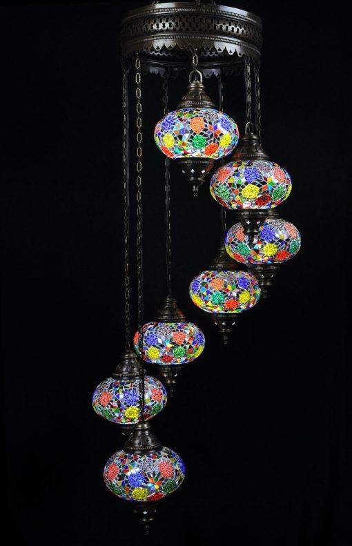 Turkse kroonluchter multicolour mix 7 bollen - Sfeerverlichting Online