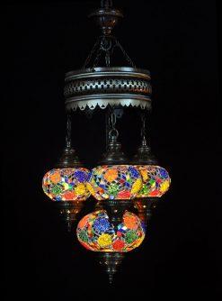 Turkse kroonluchter multicolour mix 4 bollen - Sfeerverlichting Online