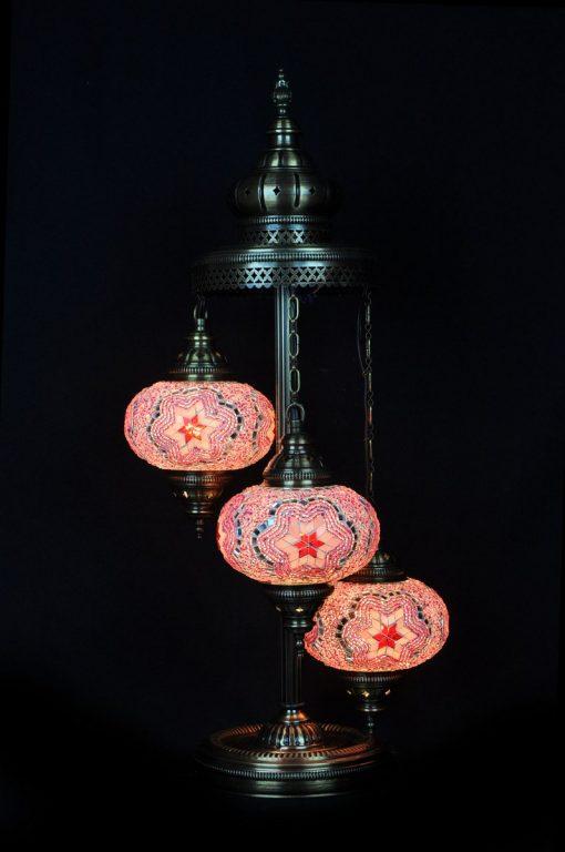 Vloerlamp mozaiek roze 3 bollen - Sfeerverlichting Online