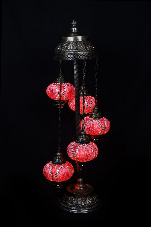 Vloerlamp mozaïek 5 bollen rood - Sfeerverlichting Online