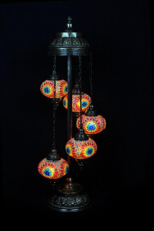 Vloerlamp 5 bollen mozaïek multicolour - Sfeerverlichting Online