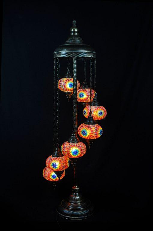 Vloerlamp multicolour 7 bollen mozaïek - Sfeerverlichting Online