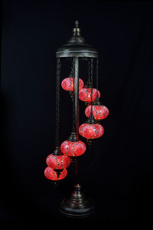 Vloerlamp 7 bollen rood mozaïek - Sfeerverlichting Online