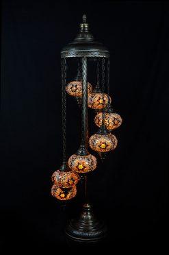 Vloerlamp 7 bollen mozaïek bruin - Sfeerverlichting Online