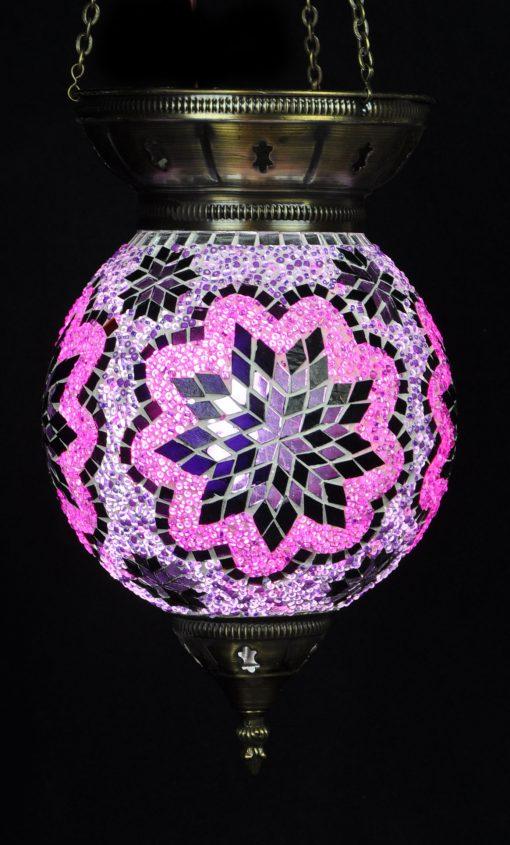 Turkse hanglamp paars rond - Sfeerverlichting Online