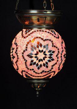Turkse hanglamp roze rond - Sfeerverlichting Online