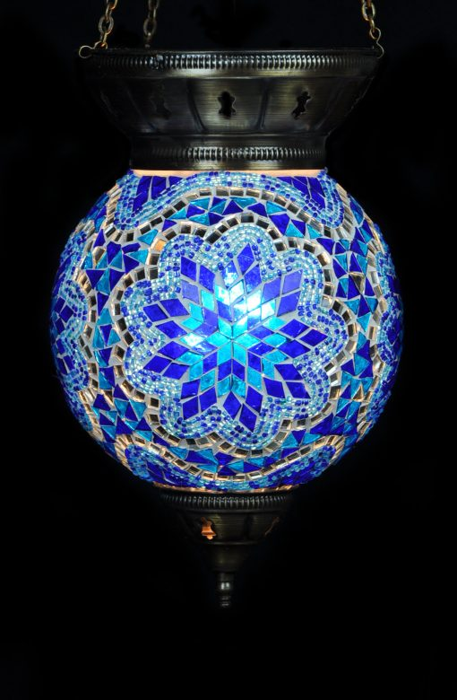 Turkse hanglamp blauw rond - Sfeerverlichting Online