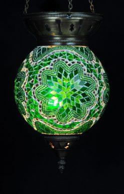 Turkse hanglamp groen rond - Sfeerverlichting Online