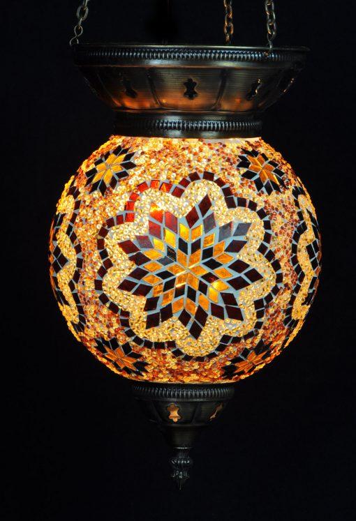 Turkse hanglamp bruin rond - Sfeerverlichting Online