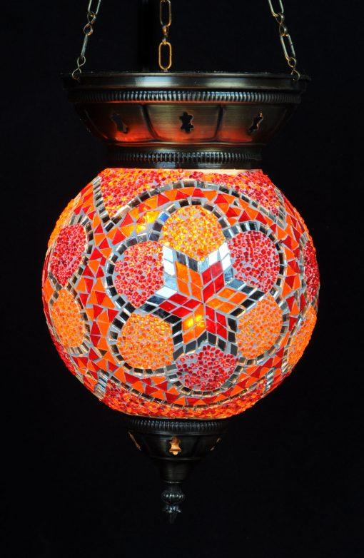 Turkse hanglamp oranje rond - Sfeerverlichting Online