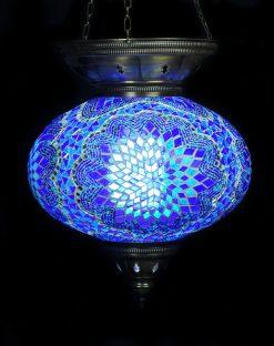 Turkse hanglamp blauw ovaal - Sfeerverlichting Online