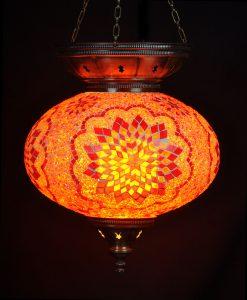 Turkse hanglamp oranje ovaal - Sfeerverlichting Online