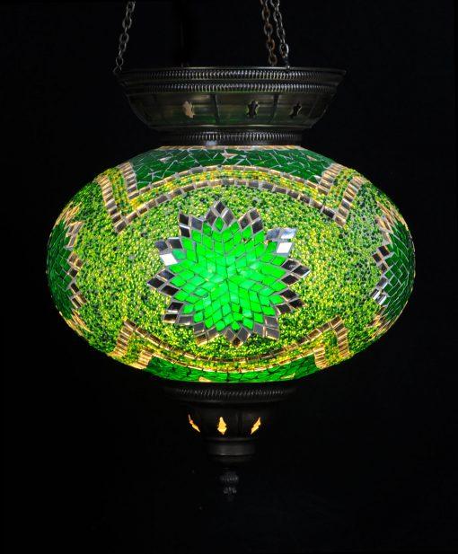 Turkse hanglamp groen ovaal - Sfeerverlichting Online